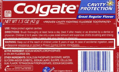 Colgate packet warning - image