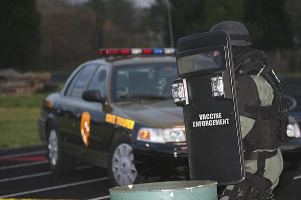 Vaccine Enforcement Shield Car
